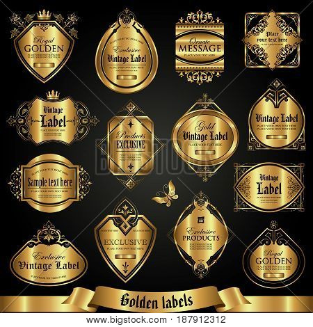 Golden labels in vintage style - vector collection