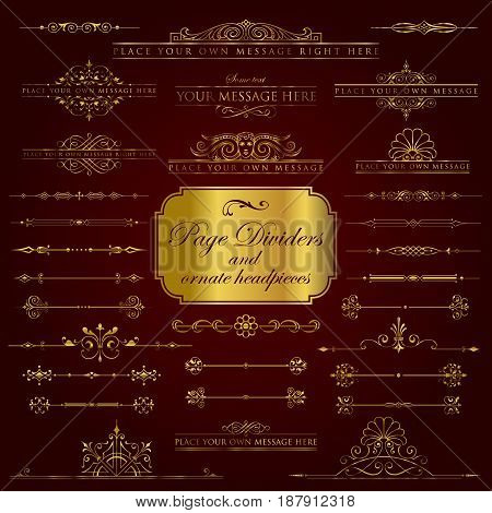 Golden page dividers and ornate headpieces - vector set