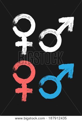 Male and female symbol. Painted by hand rough brush. White pink blue icons isolated on black background. Grunge. Vector illustration.