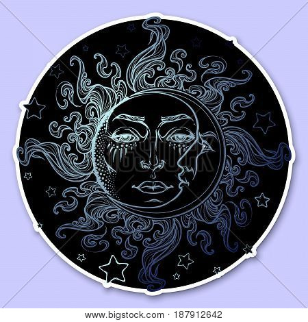 Decorative sticker. Fairytale style hand drawn sun and crescent moon with a human face on a starry night background. Graphic style decorative element. EPS10 vector illustration.