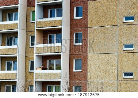 One of the facade of a panel house from the 80s in the east of Germany