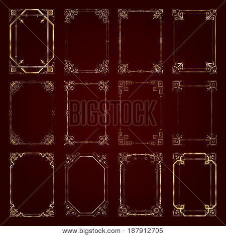 Golden vintage decorative calligraphic frames - vector set