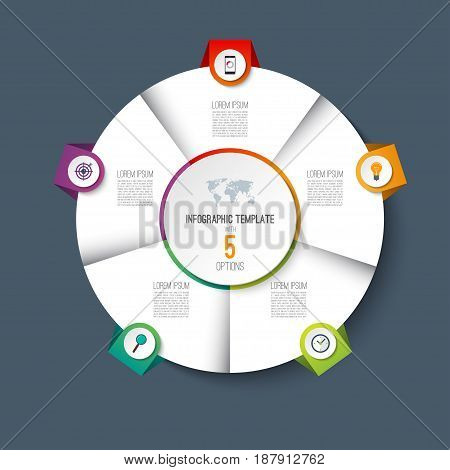 Infographic pie chart circle template with 5 options. Can be used as cycle diagram, graph, web banner, workflow layout