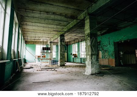 Large hall or warehouse or factory, old abandoned house building