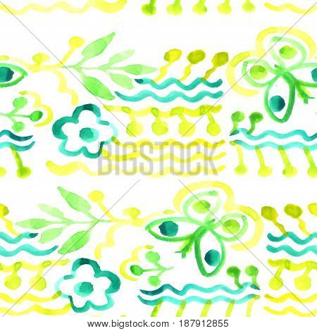 Vector watercolor pattern. Abstract floral background. Seamless texture. Flowers watercolors. National Ukrainian painting
