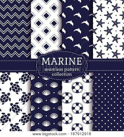 Set of marine and nautical backgrounds in navy blue and white colors. Sea theme. Cute seamless patterns collection. Vector illustration.