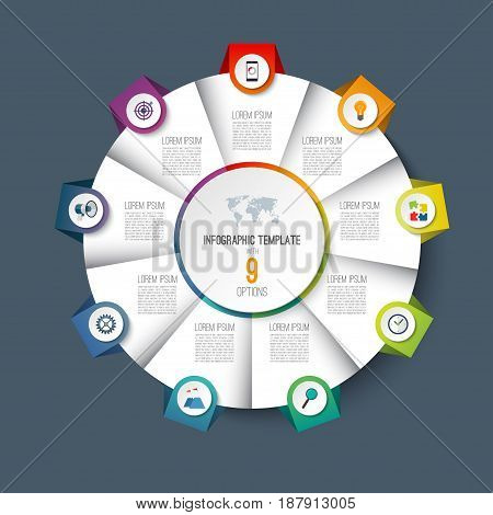 Infographic pie chart circle template with 9 options. Can be used as cycle diagram, graph, web banner, workflow layout