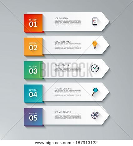Infographic arrow template with 5 options. File is layered. Can be used for diagram, graph, chart, web banner
