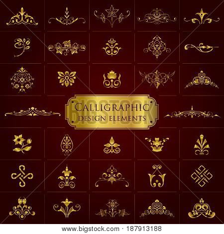 Large collection of golden ornate calligraphic design elements - vector set