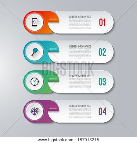 Modern infographic template with 4 options. Vector banner that can be used for diagram, graph, chart, web design, workflow layout