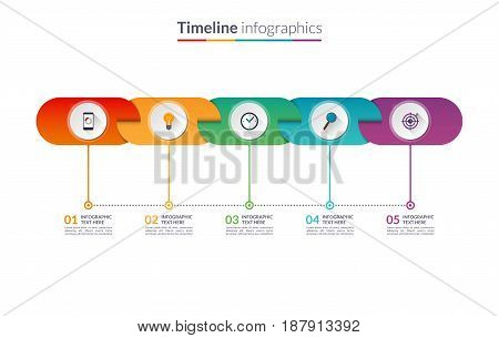Timeline infographic template of rounded elements. Vector banner with 5 options, steps, parts. Can be used for for web, workflow layout, table, diagram, chart, graph, annual report