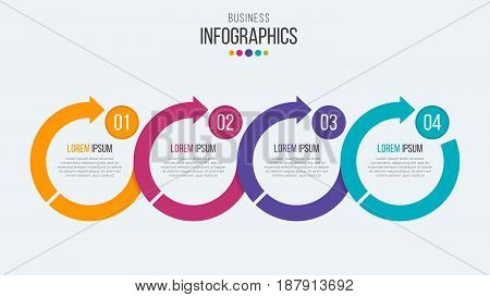 Vector 4 steps timeline infographic template with circular arrows