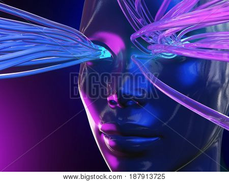 Connection to the artificial mind, 3d illustration