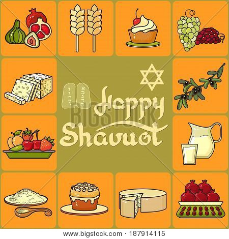 Handwritten words Happy Shavuot.  Cartoon  Wheat, pomegranate, olive and fig on yellow background..  Vector greeting card. Icon set.