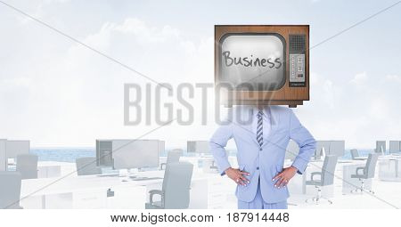 Digital composite of TV on businessman's head with business written on screen