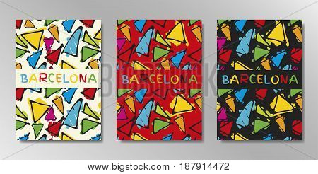 Minimal covers design. A4 with Barcelona, gaudi triangle pattern. Eps10 vector.