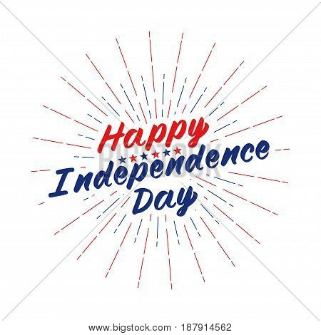 Happy Independence Day text lettering for greeting card, flyer, poster logo with stars, light rays or fireworks. Isolated on white. Vector illustration.