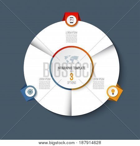 Infographic pie chart circle template with 3 options. Can be used as cycle diagram, graph, web banner, workflow layout