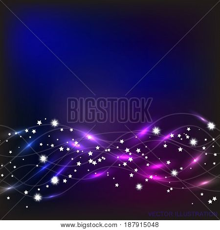 Abstract waves background. Bright vector illustration in blue and lilac colors.