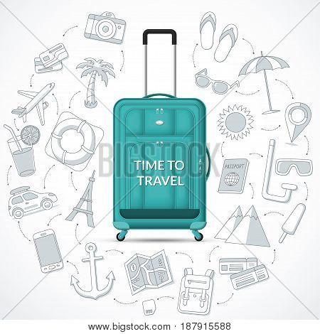 Travel suitcase with retractable handle and wheels and the set of tourism, journey, trip, tour, summer vacation doodle icons. Time to travel concept vector illustration