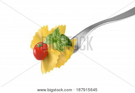 fork with pasta butterflies tomato and basil,isolated on white background, 3d rendering