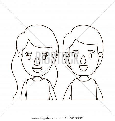sketch contour caricature front view half body couple children vector illustration