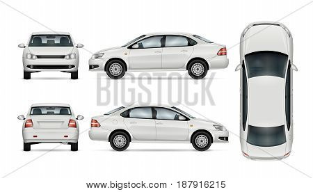 White car template for car branding and advertising. Isolated sedan on white background. All layers and groups well organized for easy editing and recolor. View from side; front; back; top.