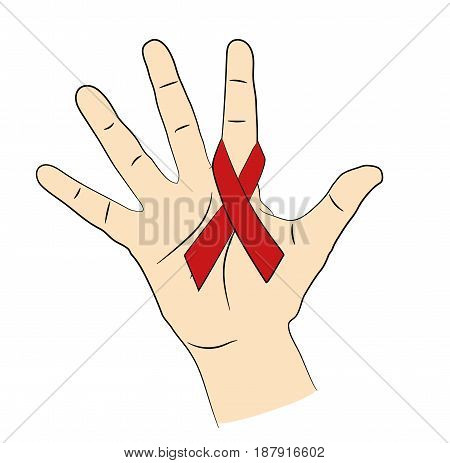 Red ribbon on the hand. A symbol of prevention and control of AIDS. vector illustration.
