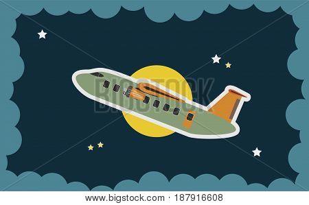 Abstract Of Passenger Aircraft Pass Over Moon Art Concept