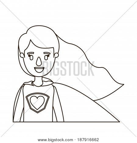 sketch contour caricature half body super hero woman with wavy long hair vector illustration