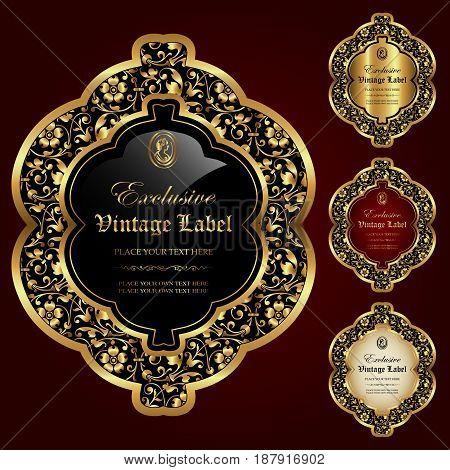 Luxury ornamental gold-framed labels - vector set
