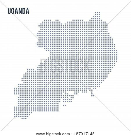 Vector Pixel Map Of Uganda Isolated On White Background