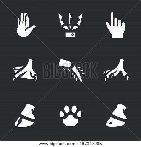 Human hand, robot hand, digital hand, duck leg, insect foot, chicken leg, paw, artiodactyl, paw, hoof.