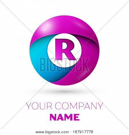 Letter R vector logo symbol in the colorful circle on white background. Vector template for your design