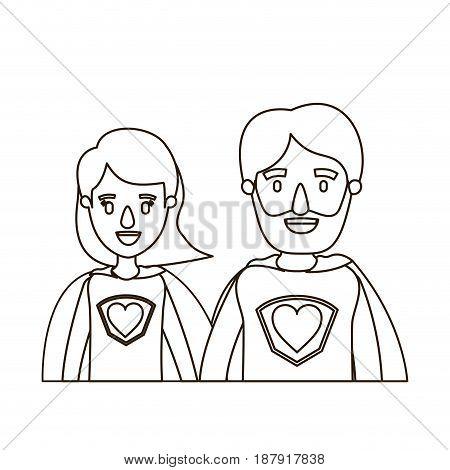 sketch contour caricature half body couple parents super hero with heart symbol in uniform vector illustration
