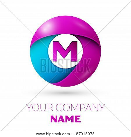 Letter M vector logo symbol in the colorful circle on white background. Vector template for your design