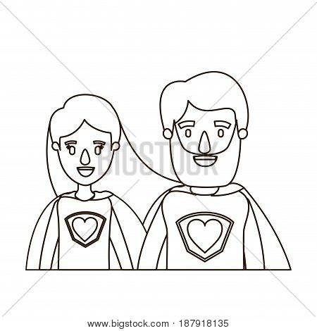 sketch contour caricature half body couple female and male super hero with heart symbol in uniform vector illustration