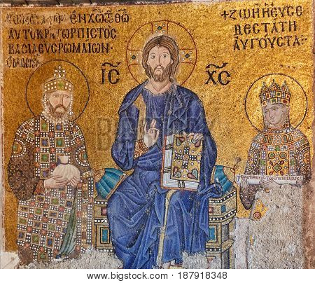 Christ Pantocrator between Emperor Constantine IX Monomachus and the Empress Zoe.
