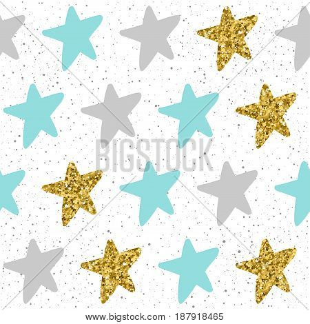 Doodle Star Seamless Background. Grey, Blue And Gold Star.