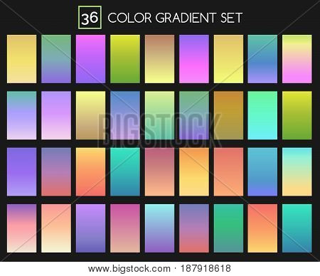 Colored gradient set. Saturated, vivid and softly bright, intense blending color gradients vector collection