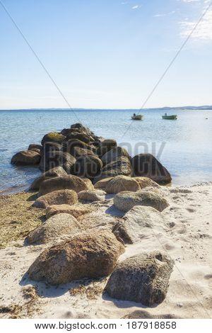 Small fishing boats on Ebeltoft Vig bay, Denmark