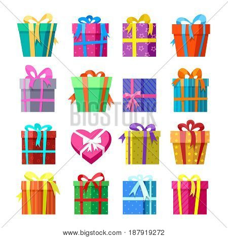 Present pack icon set. Gifts or presents boxes vector illustration for xmas and wedding cards design