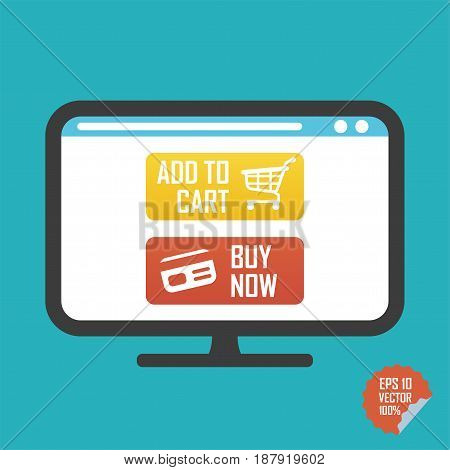 Buy Now And Add To Cart Buttons On Screen Flat Vector Icon. Illustration For Website Or Mobile Appli