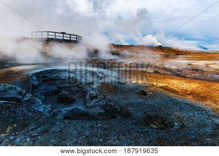 Smoking fumaroles on Hverarond valley, north Iceland, Europe.