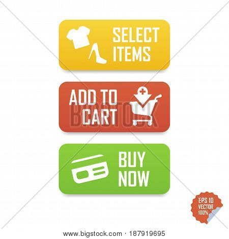 Add To Cart, Buy Now, Select Items E-commerce Buttons. Isolated Buttons For Website Or Mobile Applic