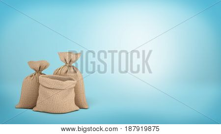 3d rendering of a three money bags on blue background, two of them tied up and one open. Loads of money. Warehouse goods. Delivery and safekeeping.