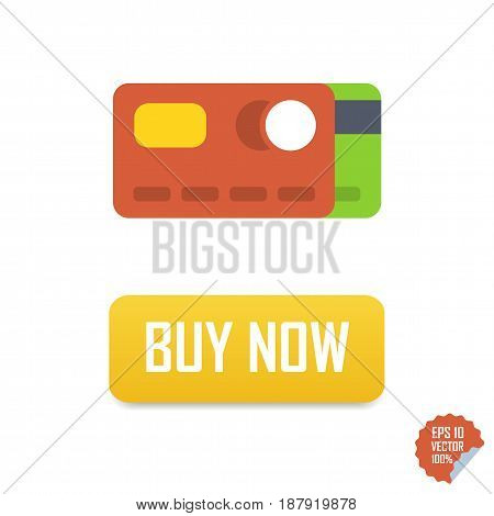 Buy Now Button With Credit Cards. Buy Now Vector Isolated Icon.