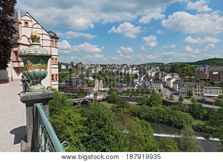 WEILBURG, GERMANY-MAY 22, 2017: View from Weilburg Castle to Lahn river  and city, Weilburg, Hesse, Germany