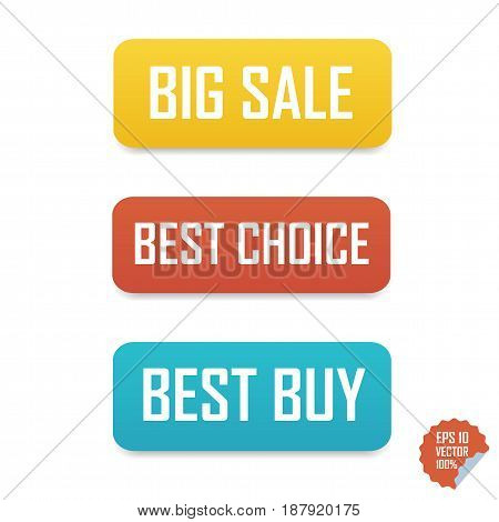 Big Sale, Best Choice And Best Buy Buttons. Isolated Buttons For Website Or Mobile Application.