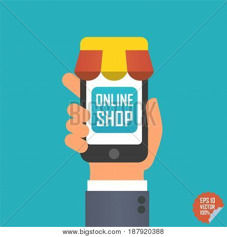Online Shop Illustration. Smartphone With Awning In Hand For Website Or Mobile Application.